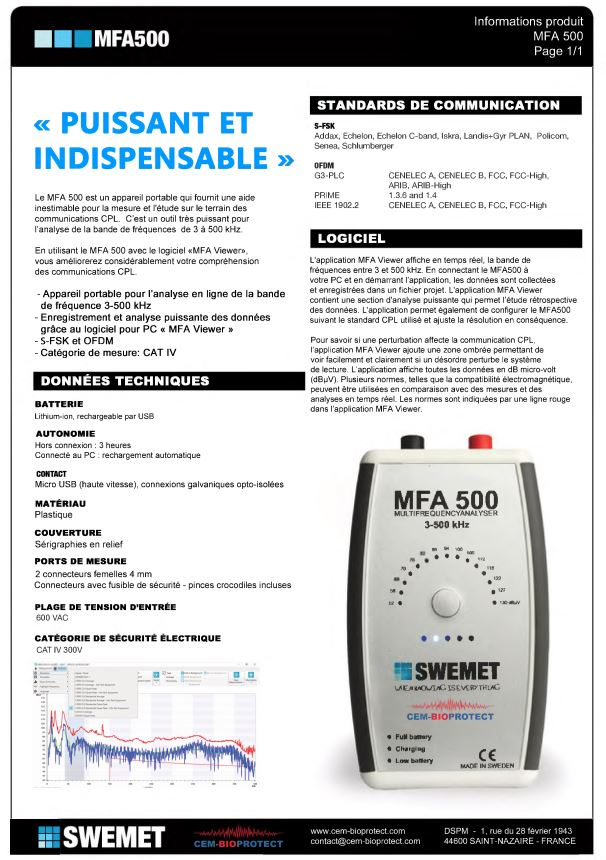 MFA500-CPL Linky frequency analyzer